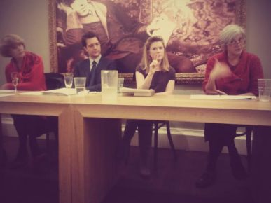 Our panel of speakers during Dr Nicole Pohl's fascinating talk on the Bluestockings