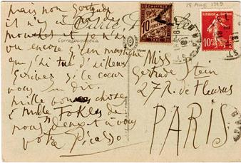 A postcard from Picasso to Stein from the intimate correspondence that the two friends were to maintain throughout their lifetime.