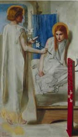 Docile maiden: Ecce Ancilla Domini, Dante Gabriel Rossetti, 1849-50
