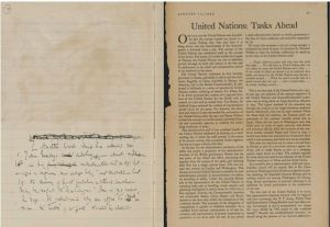 Webb's cutting of an article on the UN's estalishment in her diary